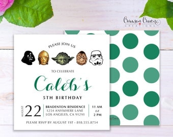 Star Wars Child's Birthday Invitation - Baby, Toddler, Kid's Yoda Darth Vader Birthday Party Invite - Storm Trooper Party - Digital File