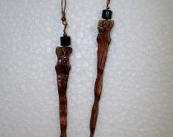Wood Icicle Dangle Earrings Brown Wooden Spike Fang Drop Handmade Jewelry Organic