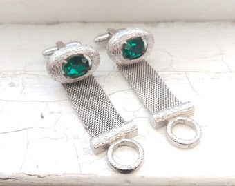 Vintage 1960's Dante Silver Tone Mesh Wrap Around Cuff Links With Faux Emerald Stones