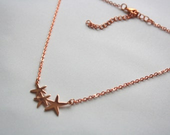 Stars Charm Necklace Rose Gold, Three Stars, Chain Rose Gold Plated Jewelry