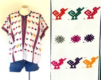 60s to 70s Top Guatemalan Huipil Vintage Hand Woven S to L Embroidered Cotton Free Domestic and Discounted International Shipping