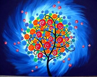"paintings of trees, painting of tree, tree of life, tree painting, tree paintings, tree print, tree prints, original painting, 36"" x 24"""