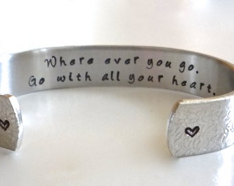 Graduation Gift| Graduation Jewelry|Promotion Gift- Travel Gift| Going away Present| Custom Cuff| Grad Gifts| Bracelet| Gifts for Grads