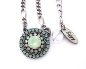 Swarovski Crystal EVIL EYE Flower Pendant, Pacific opal, Mint Green, White Opal, Multi-Stone, Ornate Pave Pendant, Antique Silver Chain