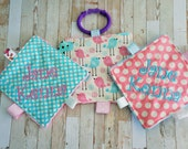 Baby girl toys, busy active crinkle toys, set of 3, washable, perfect for, moms on the go,  can be personalized as shown.