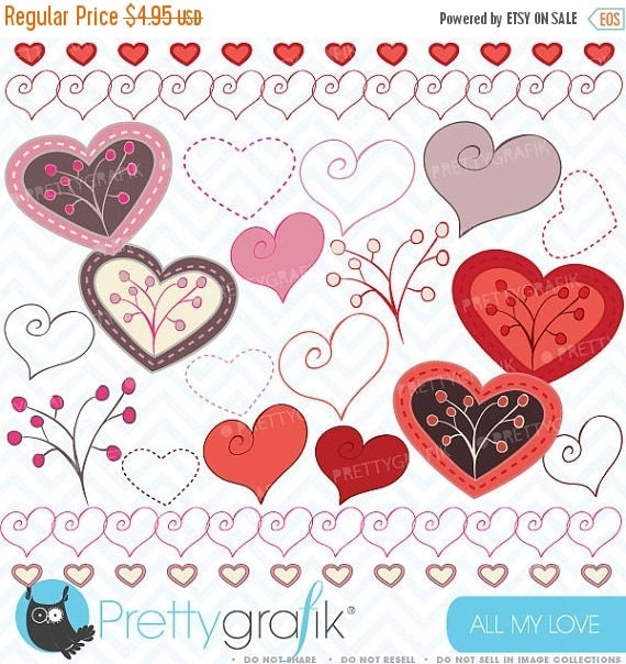 80% OFF SALE Hearts digital Clipart for scrapbooking & design, love, heart, branch, valentine's, pink - CL318