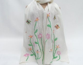 Nuno felted long white scarf with flowers and butterflies