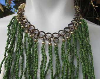 Bohemian Multi Strand Green Beaded Bib Choker Necklace Festival Fun