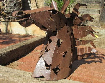 Large  Horse Head Sculpture Sheet Metal Mexico