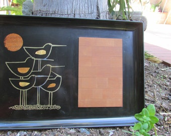 Couroc Tray Monterey California Birds Wood Inlay Wood Cutting Board Dinning Serving