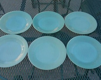 Set of Six Fire King Jane Ray Jadeite Plates