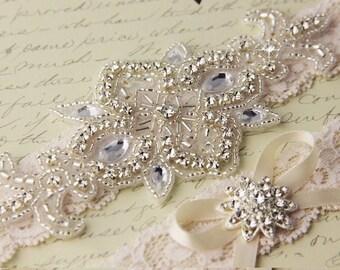 20% OFF Wedding garter set, Ivory Lace Bridal Garter set, Lace Wedding Garter, Ivory Lace Garter Set, Rhinestone Garter Set, Personalized Ga
