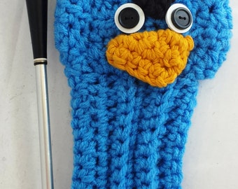 Blue Angry Bird, Golf Covers,Golf Club Covers,Crochet Golf Club Covers,Club Head Covers,Golf Head Covers,Putter Cover,Driver Cover