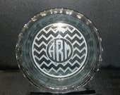 Personalized Bakeware, Monogrammed and Chevron, 9 inch Pie Plate Custom Etched