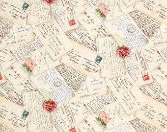 French Post Cream - One Yard - Michael Miller Fabric
