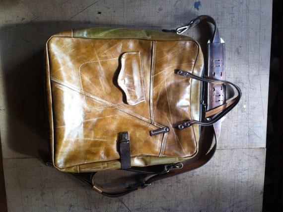Men Leather Bag, BusinessTravel Brushed Full Grain Leather Bag, Overnight Handmade Bag, Laptop bag, Man or woman Bag