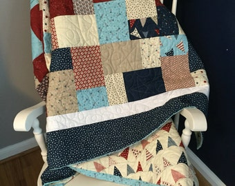 Red, white and blue Patriotic couch quilt