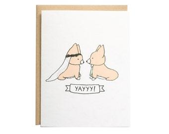 Corgi Wedding Card, Wedding Card, Dog Wedding Card, Wedding, Engagement, Congrats