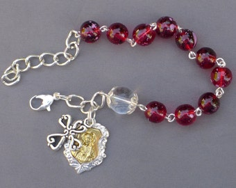 Sacred Heart - 8mm Red Glass One Decade Rosary Bracelet