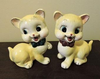Vintage Japan Mid Century Ceramic  1950 Yellow Cat Figurines