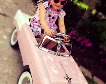 Pink print peasant dress