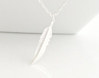 Feather Necklace, Silver Feather Necklace, Silver Necklace, Leaf Necklace, Long Necklace, Layering Necklace,UK Shop, Christmas Gifts