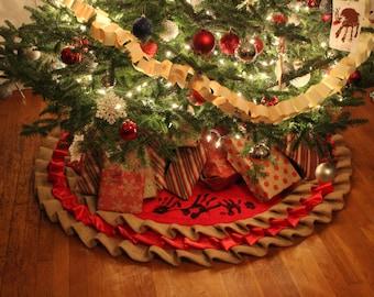 Burlap Ruffled Christmas Tree Skirt