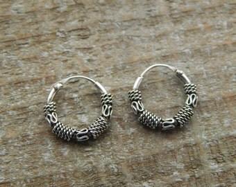 Bali Hoop Earrings, Sterling Silver Hoops, Bali Earrings, 12mm Hoop Earrings, Pair Of Bali Hoop Earrings, Small Hoops