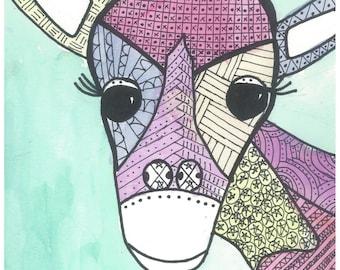 Line Giraffe - Original Watercolor Painting