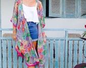 Pom Pom Kimono - Grey & Pink Paisley Print Pom Pom Kimono - Oversized Cape Kimono, Bath Robe