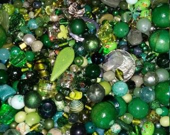 Huge Scoop of Green Beads!! Bead Soup * 6 oz.!