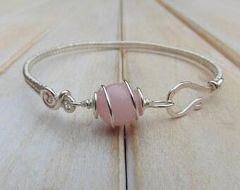 Pink Quartzite Bangle  - Wire Wrapped Jewellery Handmade - Quartzite Jewellery - Wire Wrapped Bracelet - Pink Stone Jewellery