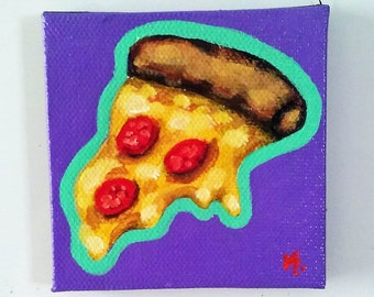 Pizza, Magnet, Original Painting, Food Art, Food Painting, Kitchen Art, Food Magnet, Painted Magnet, Pizza Painting