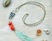 Coral necklace - tassel necklace - boho necklace - gemstone necklace - turquoise necklace -  statement necklace - long necklace