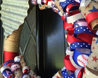 Texas Rangers Ribbon Wreath