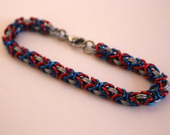Red, White, and Blue Anodized Aluminum Byzantine Chainmaille Bracelet