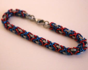 Byzantine Chainmaille Bracelet | Hand Crafted Chainmaille Jewelry | Handmade Bracelet | Red, White, and Blue | Anodized Aluminum