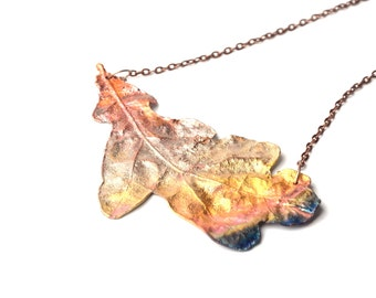statement choker copper rainbow patina oak leaf necklace fashion gift for her collar necklace electroplating jewelry