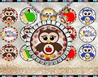 """School Owls 2016 - INSTANT DIGITAL DOWNLOAD - 1"""" Bottlecap Craft Images (4x6) Digital Collage Sheet"""