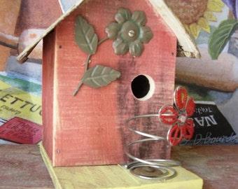Rustic Birdhouse Barnwood Tin Roof Outdoor and Garden