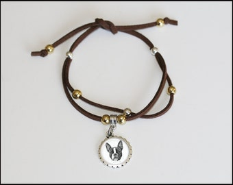 faux suede charm bracelet, boston terrier single wrap charm bracelet, pet lover jewelry, boston terrier brown faux suede braclet