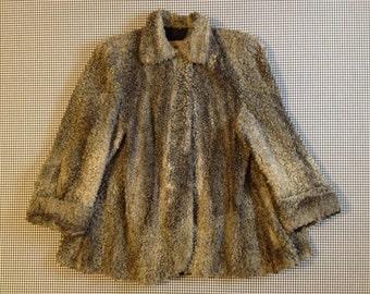 1950's, Persian Lamb fur, swing coat, in greys, Women's size Medium/Large