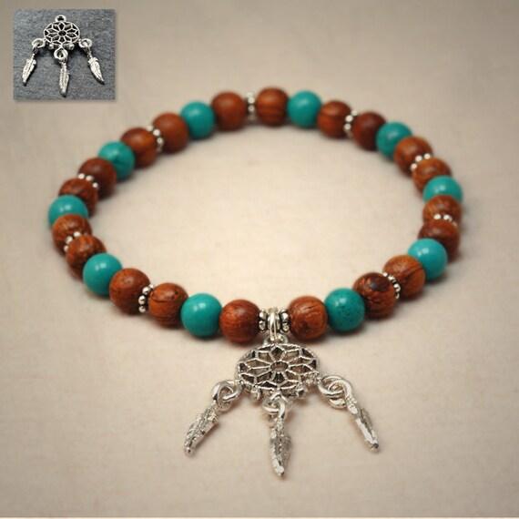 Bayong wood and hubei turquoise prayer beads bracelet - dreamcatcher