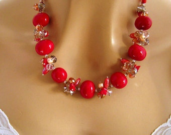 Sparkly Red Necklace, Holiday Jewelry, Red Special Occasion Necklace, Red, Sterling Silver