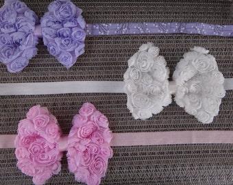 shabby bow headband, newborn, infant, toddler, photo prop, glitter, elastic, lace headband, light pink, silver
