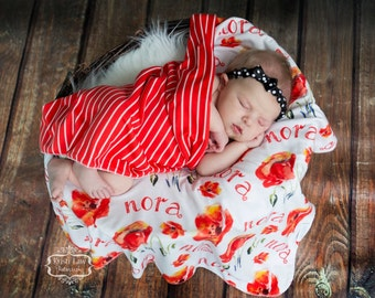 Personalized Swaddle Blanket with Floral Print // Poppies // Gifts for Baby // Newborn Photo Prop // Best Swaddling Blanket // 100% Custom