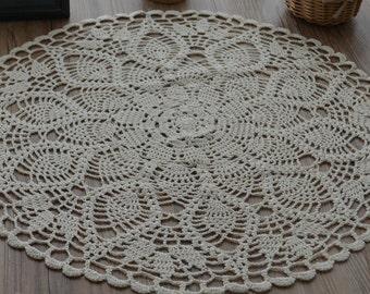 Hand Crochet Ecru White Pineapple Round Doily Table Cloth Topper Centerpeice Runner