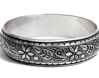Florel Bangle Bracelet Sterling Silver Jewelry