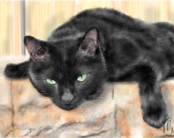 Custom Cat Portrait, custom portrait, pet portrait, cat art, cat lover, cat memorial, artwork, art print, wall art, pet memorial, pet, cat