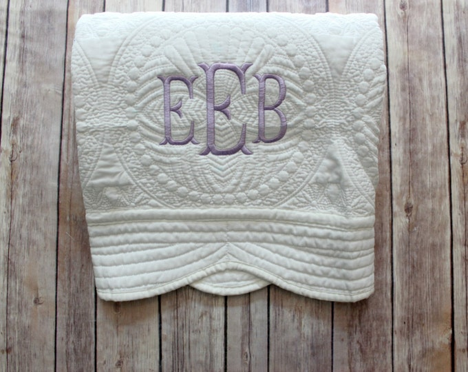 Monogrammed Baby Quilt, Personalized Baby Blanket, Personalized Baby Quilt, Monogrammed Baby Blanket, New Baby, Baby Girl Quilt, Christening